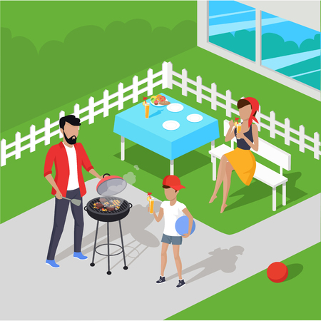 preparing: Father and son preparing barbecue design flat. Dad prepares a barbecue and nearby there is a son, and drink the juice holding the ball in his hand isolated on a green background. Vector illustration