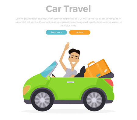 baggage: Car travel concept vector illustration. Flat design. Smiling driver on cabriolet travelling with stuff. Road travelling concept web banner. Road trip adventure.