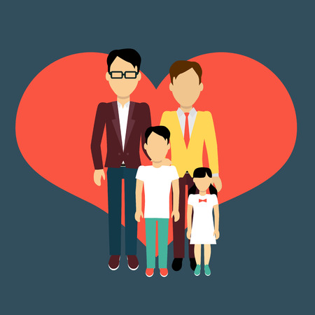 homosexual: Happy family homosexual concept banner design flat style. Young family gay man and a woman with a son and daughter. Mother and father with child happiness lifestyle, vector illustration