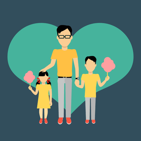 parenting: Father with children banner concept. Daddy holding hand of his daughter and son. Family and parent, girl and boy with dad, happiness together love parenting brother and sister, vector illustration