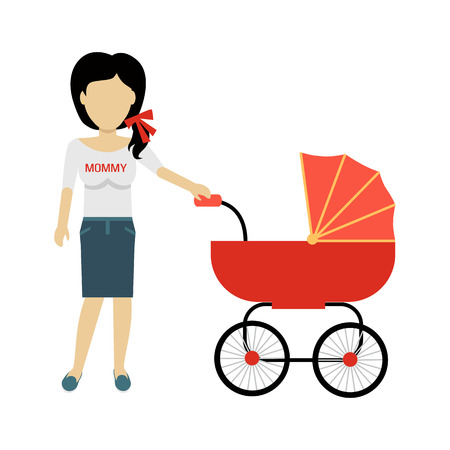 motherhood: Mother with a baby carriage banner design flat. Parent mother walking with baby in the baby carriage. Mom young happy with toddler, female and motherhood, love and happiness, vector illustration