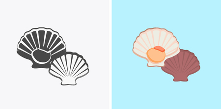 oyster shell: Oysters patterns in colour and monochrome variants. Seafood concept icons in flat style design. Vector illustration fresh deep-sea oyster. Beautiful shell pearl mussels.