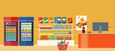 tiendas de comida: Supermercados y tiendas de comestibles. tienda al por menor para el producto en el estante de compra, la compra y el departamento de alimentos, la venta y la compra con alimentos diversos, interior sección hipermercado mercado, ilustración vectorial Vectores
