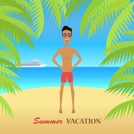 summer trees: Beach with sand and palm trees in shiny day. Man in sunglasses. Summer vacation concept. Vector illustration