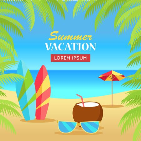 Summer vacation concept banner. Leisure on tropical sunny beach with palm trees. Surfboards, sunglasses, coconut, umbrella flat vector illustration. Ocean horizon background. Frame from palm branches.
