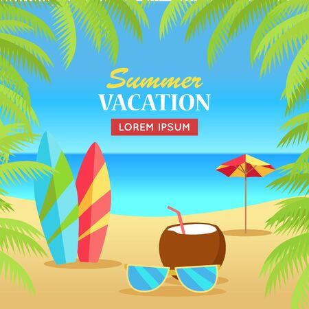 Zomervakantie concept banner. Vrije tijd op tropisch zonnig strand met palmbomen. Surfplanken, zonnebrillen, kokosnoot, paraplu plat vector illustratie. Oceaan horizon achtergrond. Frame van palmtakken.