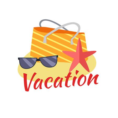 beach bag: Summer vacation concept illustration. Leisure on tropical sunny beach. isolated on white background. Beach bag, starfish, sunglasses on sand flat design vector.