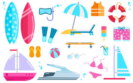 lifejacket: Variety of things for entertainment on beach and water in flat design. Surfboard mask, bal, cocktail, yacht fins, buoy, windsurfing, swimwear, lifejacket slippers, scooter vector illustration. Illustration
