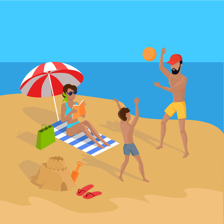 Summer vacation concept illustration. Vector flat design. Leisure on tropical sunny seaside with family. Beach entertainments and games. Sand castle building and volleyball in a tropical country