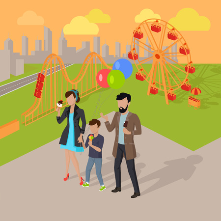 freetime: Family holiday in the amusement park vector illustration. City entertainment in the summer vacation concept. Man, woman and child eating ice-cream near roller coaster. Illustration