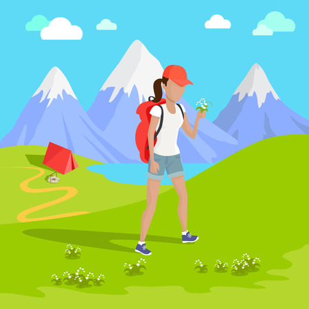 tatras: Man traveler with backpack hiking equipment walking in mountains. Mountain tourism concept in cartoon design style. Vector illustration