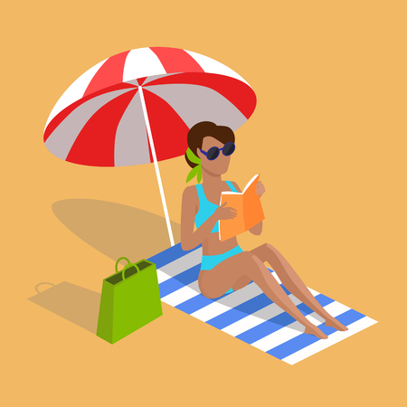 woman reading book: Summer vacation. Vector flat design. Leisure on tropical sunny seaside. Woman reading book in the shade of umbrella on a sand beach in the tropical country. Sunbathing and relaxing on the towel.