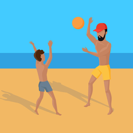 entertainments: Summer vacation concept illustration. Vector flat design. Leisure on tropical sunny seaside with family. Beach entertainments and games. Volleyball in a tropical country.