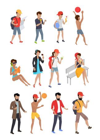 coking: Big set summer people characters. Personages on vacation vector flat design illustration. Hiking, playing ball, eating coking, walking, seating, standing woman, kid, and man. Illustration