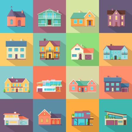 Set Häuser, Gebäude und Architektur Variationen in flachen Design mit langen Schatten. Moderne Stadtarchitektur-Konzept. Verschiedene moderne Design-Strukturen Vektor-Illustration. Standard-Bild - 59597664
