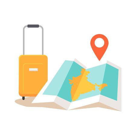 インド旅行の概念図。エキゾチックな国アイコンの夏休み。観光旅のベクトル。外国の概念でナビゲーション。スーツケース, マップ, フラット スタイル設計のチェックポイント。