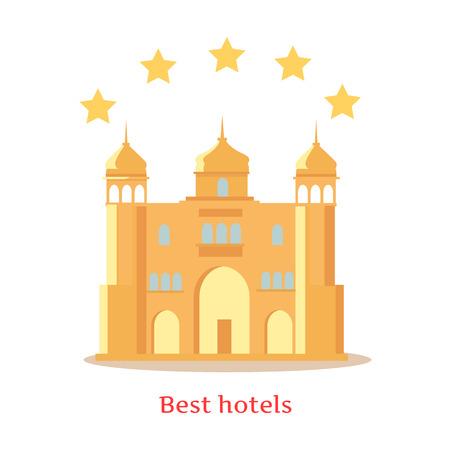 Best Five Stars Hôtels indiens vector illustration dans un style plat. Confort luxueux et un meilleur concept de service. Architecture indienne traditionnelle. Isolé sur fond blanc.