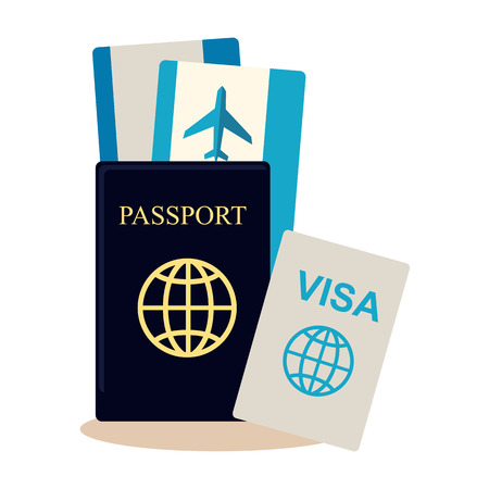 illustration journey: Traveller documents set in flat style design. Passport, visa, airplane tickets icon vector illustration. Preparing and planning summer vacation journey concept. Isoleted on white. Illustration