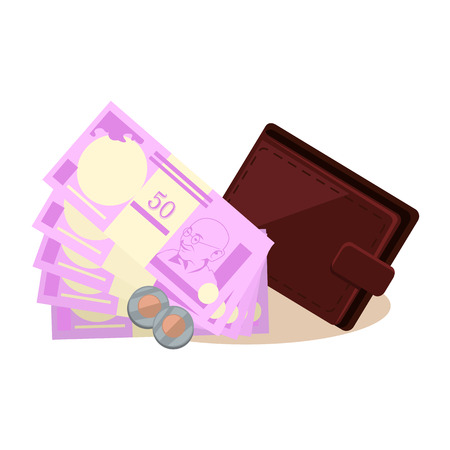 indian currency: Indian currency vector concept. Rupees and coins vector. Leather wallet lying next to stacks of money with a portrait of Gandhi. Flat style design illustration. Isolated on white background.