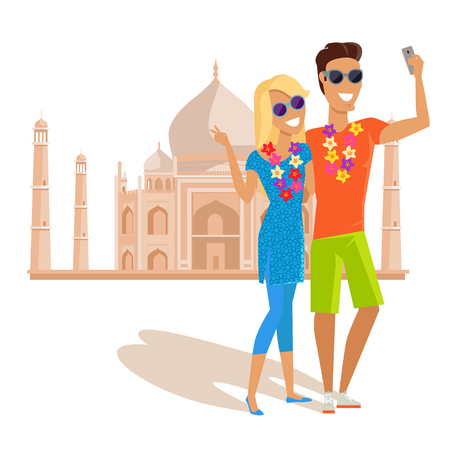 couple in summer: Summer vacation in India concept. Honeymoon in exotic countries vector illustration. Selfies on the background of famous historical monuments. Couple taking pictume near Tadj Mahal.