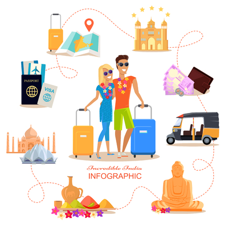 couple in summer: Incredible India travel infographic conceptual poster in flat style design. Summer vacation in exotic countries vector illustration. Honeymoon in India concept. Couple in love India romantic trip.