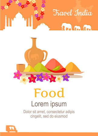 illustration journey: Travel India conceptual poster in flat style design. Summer vacation in exotic countries illustration. Journey to India vector template. Foreign cooking and restaurants, exotic food concept. Illustration