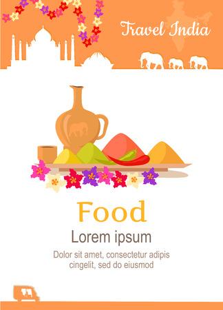フラット スタイルのデザインで旅行インドの概念のポスター。夏休みはエキゾチックな国の図。インド ベクトル テンプレートへの旅。外国の料理やエキゾチックな料理のコンセプト レストラン。
