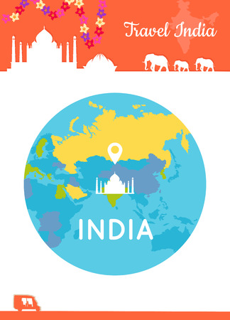 illustration journey: Travel India conceptual poster in flat style design. Summer vacation in exotic countries illustration. Journey to India vector template. Center of the world in low cost tourism concept.