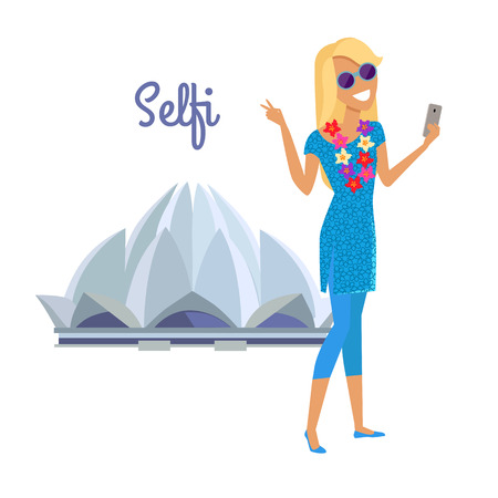 exotic woman: Summer vacation in India concept. Journey in exotic countries vector illustration. Selfie on the background of famous historical monuments. Young woman taking pictume near Lotus temple. Flat Design.