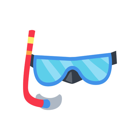 red tube: Blue mask and red tube for diving with snorkel isolated on white background. Vector illustration Vectores