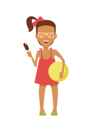 beach ball girl: Girl character in dress and sunglasses with ice-cream and ball vector flat design illustration. Smiling child ready for summer camp ant beach entertainments standing isolated on white background.