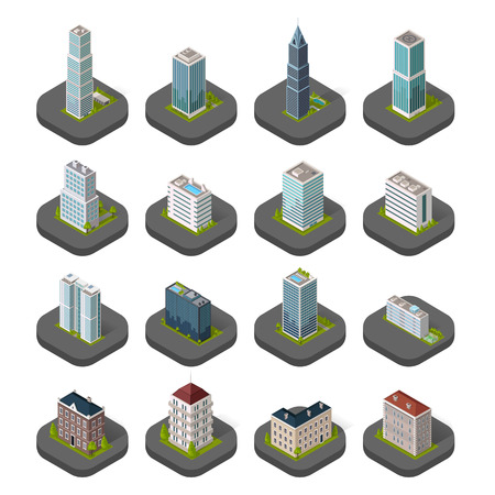 apartment buildings: Skyscraper building icon. Set of buildings and isolated skyscraper. Isometric tower and office city architecture buildings, 3d house business building, apartment office vector illustration Illustration