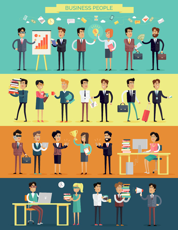 big break: Big set business people characters in flat style design. Meeting, brainstorm, planning, success, work process, coffee break concept. Variety human personages in workflow process vector illustration.