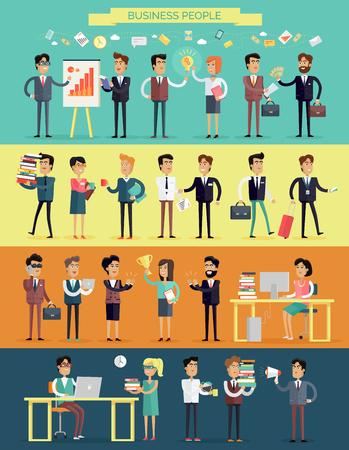 reunion de trabajo: Los grandes negocios conjunto de caracteres personas en el diseño de estilo plano. Reuniones, intercambio de ideas, la planificación, el éxito, el proceso de trabajo, el concepto de descanso para tomar café. personajes humanos Variedades en ilustración vectorial proceso de flujo de trabajo.