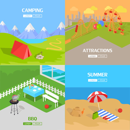 family hiking: Holiday barbecue and amusement park spend vacation. Relax on beach, mountain tourism, prepare barbecue in yard and walk in park attractions. Vector illustration Illustration