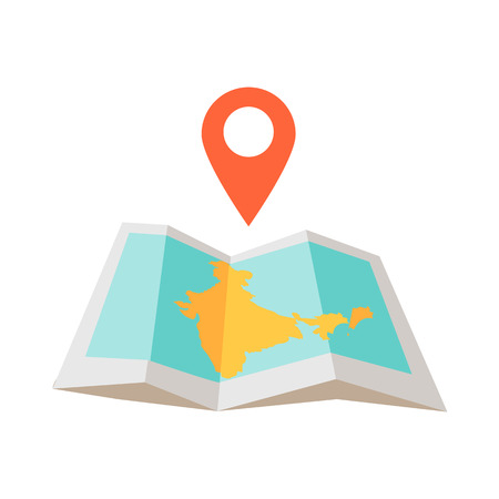 illustration journey: India traveling conceptual illustration. Summer vacation in exotic countries icon. Tourist journey vector. Navigation in foreign country concept. Map, checpoint in flat style design.