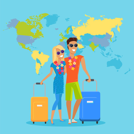 people traveling: People traveling summer vacation vector in flat design. Honeymoon in exotic countries concept. Young man and woman with necklace of flowers embracing and holding suitcases on world map background. Illustration