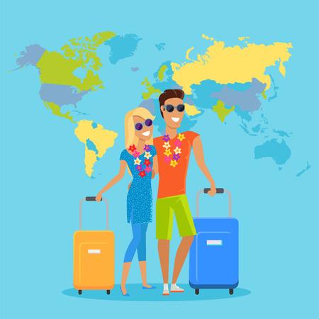 Mehrere Personen reisen Sommerurlaub Vektor in flachen Design. Flitterwochen in exotischen Ländern Konzept. Junger Mann und Frau mit Halskette von Blumen umarmen und Koffer auf Weltkarte Hintergrund.
