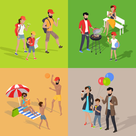 family holiday: Family holiday barbecue and amusement park. Family dad mom and child spend vacation. Relax on beach, mountain tourism, prepare barbecue in yard and walk in park attractions. Vector illustration