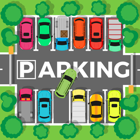 parked: City parking vector. Shortage parking spaces, transport boom concept. Large number of cars in a crowded parking. Urban infrastructure vector illustration in flat design.