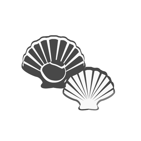 oyster shell: Oysters in monochrome variant. Seafood concept icons in flat style design. Vector illustration fresh deep-sea oyster. Beautiful shell pearl mussels.
