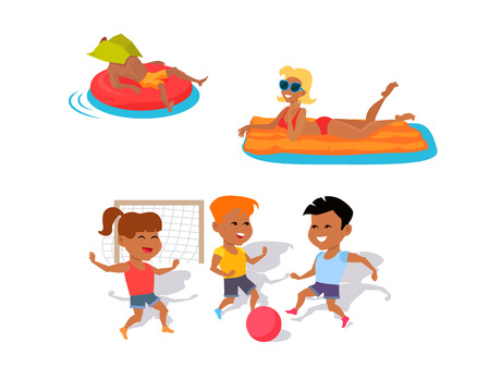 inflatable ball: Summer fun concept illustration. Beach entertainments and games vector in flat style design. Man and woman swimming on inflatable mattresses. Two boys and girl playing ball. On white background.