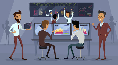 brokerage: Business team work success concept. Online trading. Brokerage trading on the stock exchange vector in flat style design. Group of businessmen enjoys success deal on stock market illustration.
