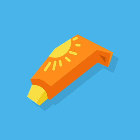 sun protection: Sunscreen care sun protection. Cosmetics container orange cream icon in flat style isolation on blue background. Vector illustration