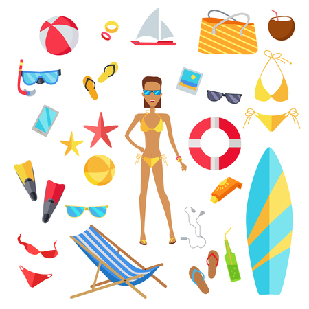 ice cream woman: Accessories for the summer holidays design flat. Ball for beach volleyball, life buoy and flip-flops, sunglasses and inflatable ice cream woman isolated on white background. Vector illustration Illustration