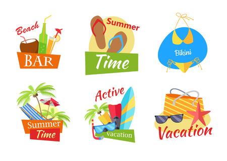 Conjunto de ilustraciones vectoriales conceptos de vacaciones de verano. bar en la playa, verano, vacaciones activas, composiciones bikini en el diseño de estilo plano. Ocio en las variaciones de playa de sol en el fondo blanco.