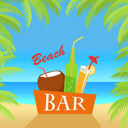 cold drinks: Beach bar vector flat illustration. Cold drinks for summer vacations set. Juice, coconut milk, cocktail, soda, isolated on white background. Leisure on tropical sunny beach with palm trees. Illustration