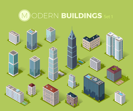 Skyscraper building icon. Set of buildings and isolated skyscraper. Isometric tower and office city architecture buildings, 3d house business building, apartment office vector illustration