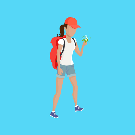 lifestile: Hiking with backpack illustration. Woman in shorts with supplies and flower walks on blue background. Vector in modern flat design. Traveller lifestile concept. Illustration
