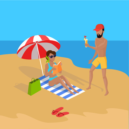 Summer vacation concept illustration. Vector flat design. Leisure on tropical sunny seaside with family. Beach entertainments and games. Cold drinks and relaxation on seacoast.